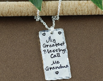 My Greatest Blessings Call me Grandma, Hand Stamped Necklace, Personalized Jewelry, Bar Necklace, Gift for Grandma, Mother's Necklace