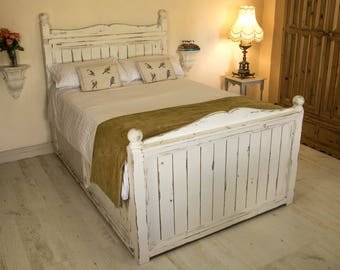 Rustic Wood Bed Handmade Unique High