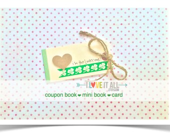 Lucky In Love Coupon Book . Valentine Day Gift . I'm the Lucky One . Shamrock Clover Anniversary Wedding Engagement Birthday Card Boyfriend