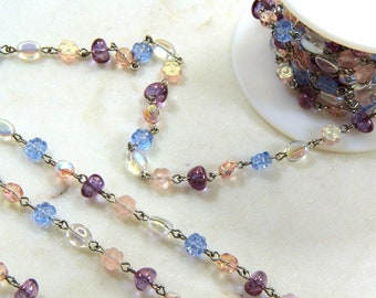 Beadlinx Bead Chain, Periwinkle on Silver Plate Chain, Amethyst, Crystal, Blue andPink, Necklace And Bracelet Findings, Sold Buy By The Foot