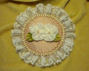 Sweet White Pansies Ribbonwork Medallion