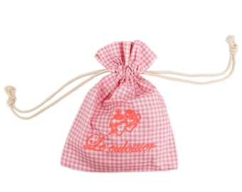 """Bag """"culottier"""" pink gingham and embroidery neon Léopoldine Chateau"""