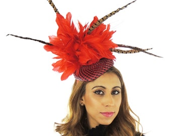 Red and Black Kaddho Hat for Kentucky Derby, Weddings & Proms