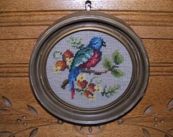 Antique Needlepoint Bird in Round Frame