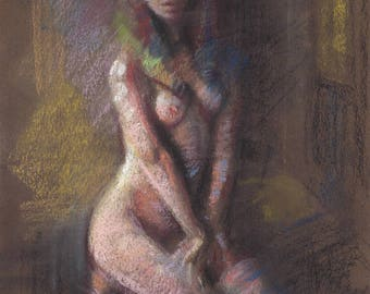 WAITING Room Female Nude figure kneeling in Interior Original Drawing 6x8 Illustration Pastel Painting Abstract Magical Realism DANIEL PECI