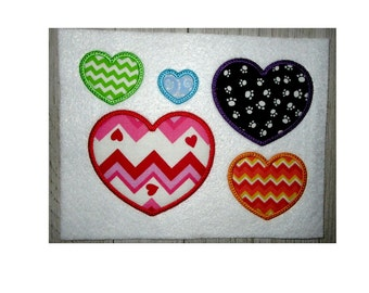 Heart Applique Design.  Embroidery Designs Hearts, Embroidery Applique Design Hearts, Hearts Machine Embroidery,  5 Sizes, No Fonts Included