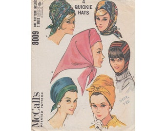 """4 Easy to Sew 1960s Hats McCalls 8009 Turban Style Hats, Hood, Kerchief Style Vintage Sewing Pattern 2 Sizes 21 1/2 to 23"""""""