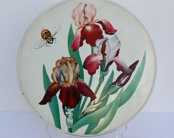SALE:  Candy tin; vintage tin; iris; collectible tin; large tin; Maurice Lenell
