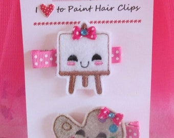 I Love To Paint~ Hair Clip Set