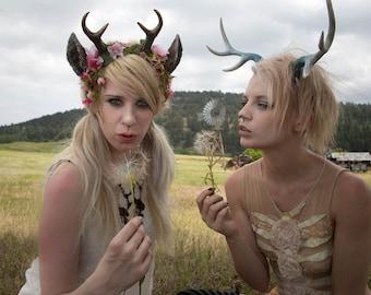 Moss and Flower Nymph Fawn Mini Antler & Ear Headband