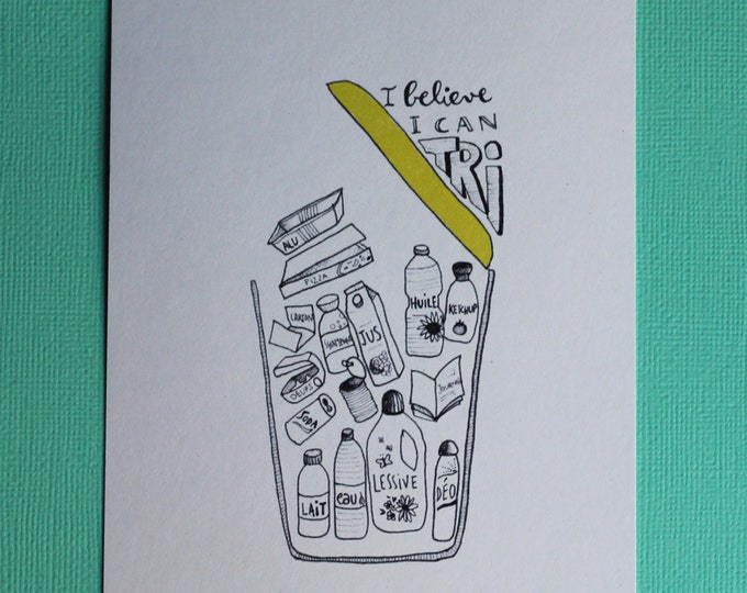 Illustrated postcard - waste recycling guide - yellow trash - useful for kitchen decor illustration