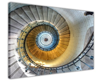 Abstract Spiral Staircase on Framed Canvas Wall Art Prints Home Decoration Pictures Photos Poster 18 mm Thick Frame