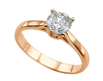 1.50ct White Sapphire Engagement Ring Rose Gold 14K Cathedral Round