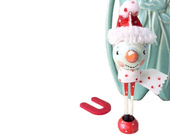 Handpainted Wood Clothespin  Peg Doll Snowman, Whimsical Art and Christmas Holiday Decor