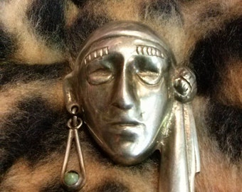 Vintage 1940s Brooch Mexican Silver Sterling Gypsy Head 40s Pin