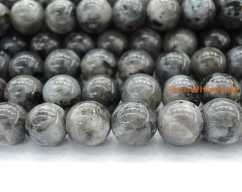 "15.5"" Black Labradorite 8mm round beads, Larvikite beads, black gemstone, semi-precious stone, Larvikite 8mm round beads"