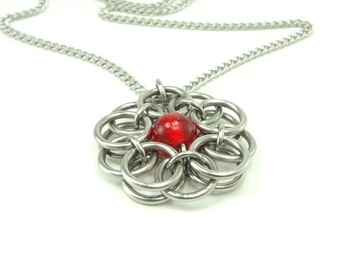Celtic Knot Necklace Handmaid Chainmaille With Red Glass Bead