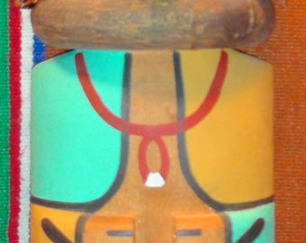 Native American Hopi Hand Carved Cradle Board Wolf Kachina 12 x 4 x 1 Signed
