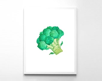 Instant Download Broccoli Print Kitchen Print Broccoli Poster Watercolor Print Vegetable Art Print Veggies Print Kitchen Art Print