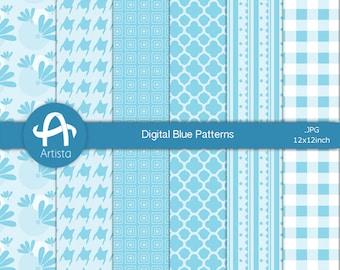Blue Digital Download Patterns Scrapbook Craft Paper Digi Downloads