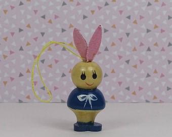 Vintage Easter bunny ornaments 1960s wooden pink blue pastel