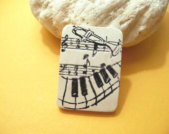 Music Pin Music Brooch or Fridge Magnet, Musician Jewelry, Music Teacher Gift, Choir Director Gift, Black and White, handmade polymer clay