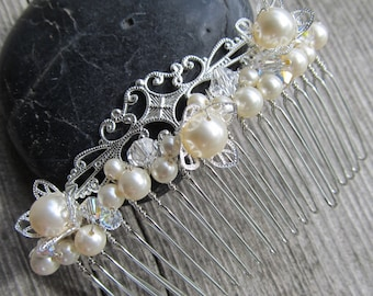 Filigree Bridal Veil Comb with Swarovski Pearls and Crystals