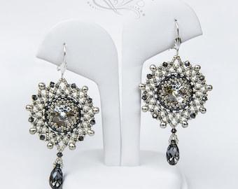 Beading Tutorial, Silver Night Earrings, Jewelry Tutorial, Bead Pattern PDF, Instant Download.