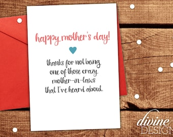 Mother in Law Card - Funny Mother's Day Card - Mothers Day Gift- Funny Mother's Day