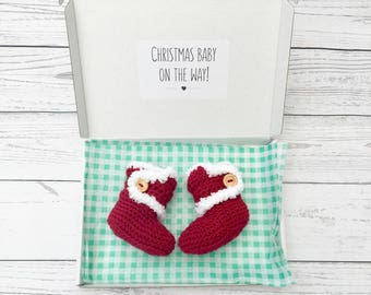 Christmas baby announcement, pregnancy reveal, christmas baby booties, crochet red baby shoes, baby santa boots, christmas baby gift
