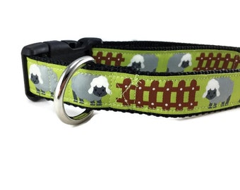 Dog Collar, Sheep Dog Collar, 1 inch wide, adjustable, quick release, metal buckle, chain, martingale, hybrid, nylon