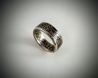 "SALE! Barber Silver Half Dollar Coin Ring ""Patriot Ring"""