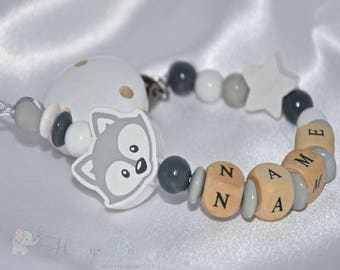 Personalised Wooden Dummy Clip / Fox dummy clip /Chain / Holder / Pacifier/Baby Shower