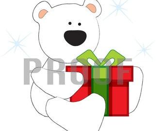 Polar Bear with Gift Iron On Transfer Downloadable Printable