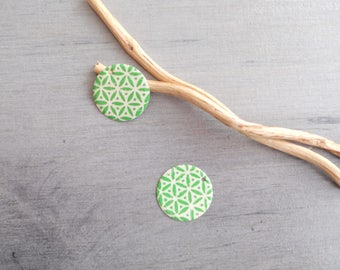 Sweet set of 4 ivory and green sequins