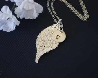 Silver Leaf Necklace Personalized, Silver Leaf, Silver Initial Charm, Silver Evergreen Necklace, Monogram Necklace, Bridesmaid Gift
