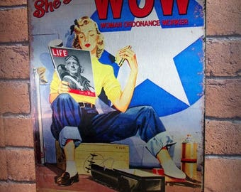 """Metal plate deco version aluminum brushed """"Pin-up"""" airplane and vintage world war"""