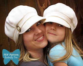 Newsboy Hat Sewing Pattern Combo - Reversible Unisex Infant, Child and Adult Sizes - PDF
