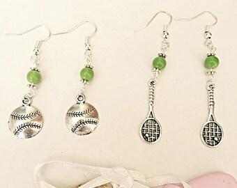 Tennis Racquet Earrings - Tennis Ball Earrings - Dangly Tennis Earrings - Wimbledon Tennis Earrings - Tennis Jewelry - Sport Jewelry