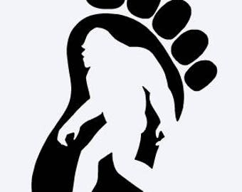 Bigfoot Footprint Vinyl Decal; Sasquatch; Yeti; Abominable Snowman