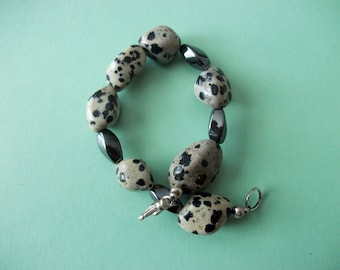 Gemstone Jewelry Bracelet - Dalmation Jasper and Hemalyke Gemstone Beaded Bracelet