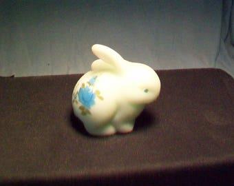 Fenton Blue Acid Etched Satin Bunny Figurine
