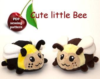 Bee stuffed animal handheld size plushie PDF sewing pattern - cute and easy kawaii anime DIY plush toy