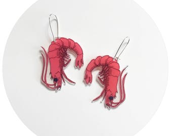 Prawn Plastic Drop Earrings