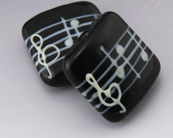 SRA Lampwork Beads Glass Music Beads Black and White Square Bead Pair Music Lover Artisan Glass Bead Pair Manuscript Heather Behrendt