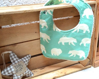 Bib turquoise with bears in biological tissue