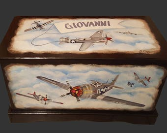 Airplane Toy Chest Custom Designed, kids room decor, personalized, art and decor, wooden toy box, hand made, hand painted