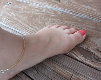 Anklets for Women, Scorpio Birthday, Citrine Anklet, Gemstone Anklet,  Beachy Anklet, Sterling Silver Anklet, Yellow Citrine, BEACH