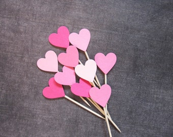 Valentine's Day Decor, 24 Mixed Pink Heart Cupcake Toppers, Food Picks, Party Decor, Sweet 16, Weddings, Showers, Birthdays, Love