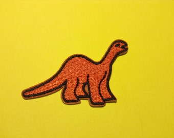 Iron on Sew on Patch:  Dinosaurs (Orange)